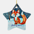 Little Red Fox in Snow Ceramic Ornament