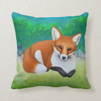 Little Red Foxes Throw Pillow