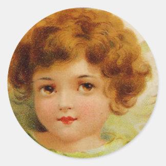 Little Red-Headed Angel Round Sticker