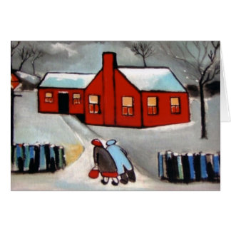 LITTLE RED HOUSE SNOW SCENE CARD
