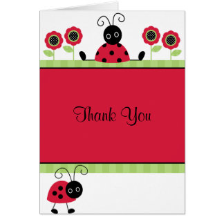 Little Red Ladybugs Thank You Note Card