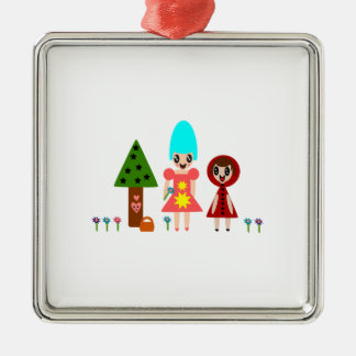 Little Red Riding Hood and Grandma 344 Silver-Colored Square Ornament