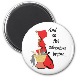 Little Red Riding Hood and Her Wolf Pup 2 Inch Round Magnet