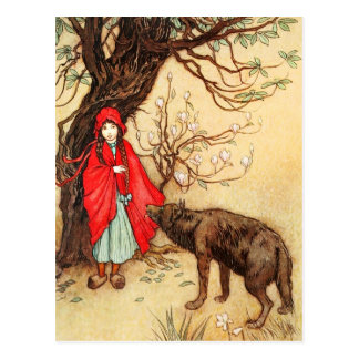 Little Red Riding Hood and the Big Bad Wolf Postcard