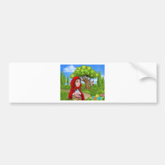 Little Red Riding Hood and Wolf Scene Bumper Sticker