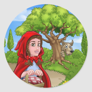 Little Red Riding Hood and Wolf Scene Classic Round Sticker