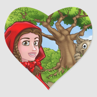 Little Red Riding Hood and Wolf Scene Heart Sticker