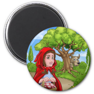 Little Red Riding Hood and Wolf Scene Magnet
