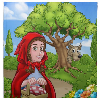 Little Red Riding Hood and Wolf Scene Napkin