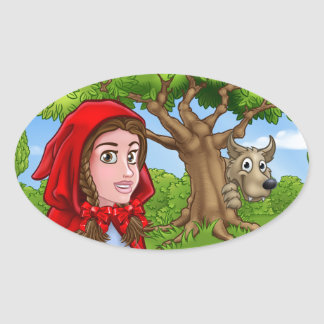 Little Red Riding Hood and Wolf Scene Oval Sticker