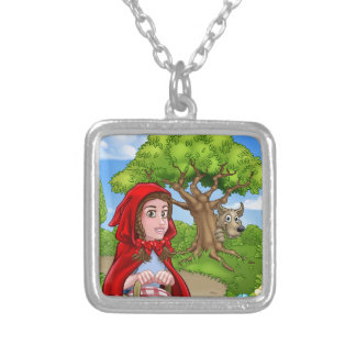 Little Red Riding Hood and Wolf Scene Silver Plated Necklace