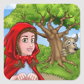 Little Red Riding Hood and Wolf Scene Square Sticker