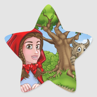 Little Red Riding Hood and Wolf Scene Star Sticker