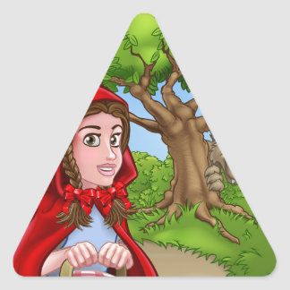 Little Red Riding Hood and Wolf Scene Triangle Sticker