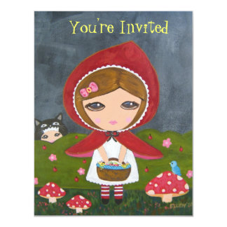 """Little Red Riding Hood- Bedtime Story Party 4.25"""" X 5.5"""" Invitation Card"""
