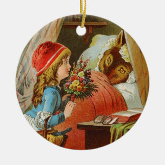 Little Red Riding Hood by Carl Offterdinger Round Ceramic Ornament