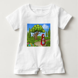 Little Red Riding Hood Cartoon Scene Baby Romper