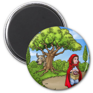 Little Red Riding Hood Cartoon Scene Magnet