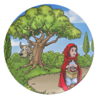 Little Red Riding Hood Cartoon Scene Plate