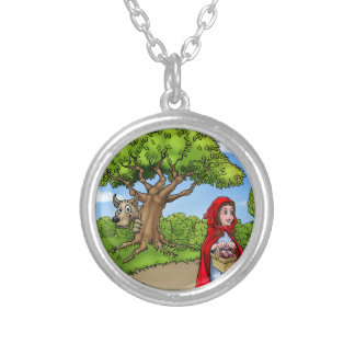 Little Red Riding Hood Cartoon Scene Silver Plated Necklace