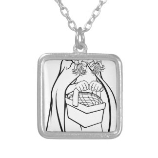 Little Red Riding Hood Fairy Tale Cartoon Silver Plated Necklace