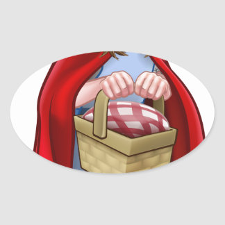 Little Red Riding Hood Fairy Tale Character Oval Sticker