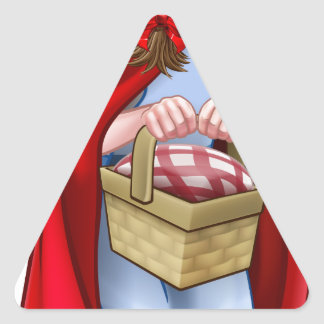 Little Red Riding Hood Fairy Tale Character Triangle Sticker