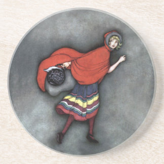 Little Red Riding Hood ~Fairy Tale~Jennie Harbour~ Beverage Coasters