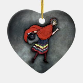 Little Red Riding Hood ~Fairy Tale~Jennie Harbour~ Ceramic Heart Ornament