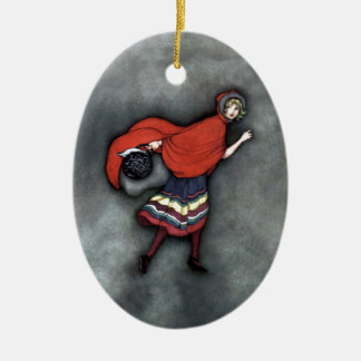 Little Red Riding Hood ~Fairy Tale~Jennie Harbour~ Ceramic Oval Ornament