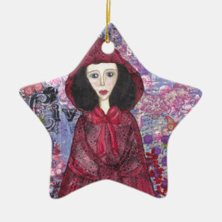 Little Red Riding Hood in the Woods 001.jpg Ceramic Star Ornament