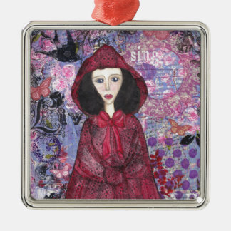Little Red Riding Hood in the Woods 001.jpg Silver-Colored Square Ornament