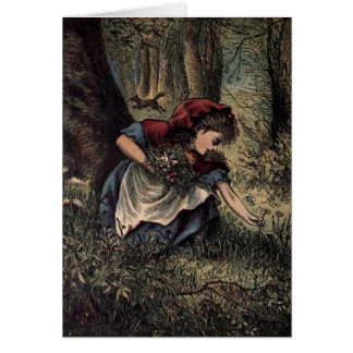 Little Red Riding Hood Picking Flowers Card
