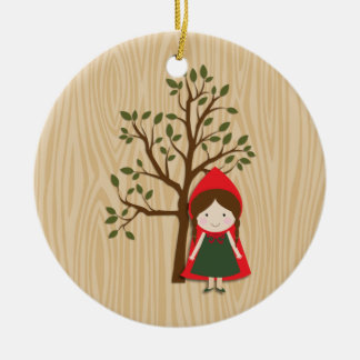Little Red Riding Hood Round Ceramic Ornament