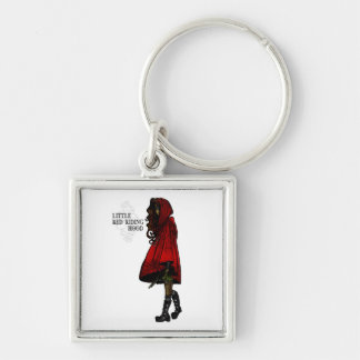 Little Red Riding Hood Silver-Colored Square Keychain