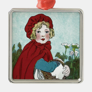 Little Red Riding Hood Silver-Colored Square Ornament
