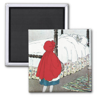 Little Red Riding Hood: What Grat Ears You Have! Square Magnet
