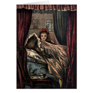 Little Red Riding Hood Wolf in Grandmother's Bed Card