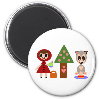 Little Red Riding Hoods Picnic 2 Inch Round Magnet