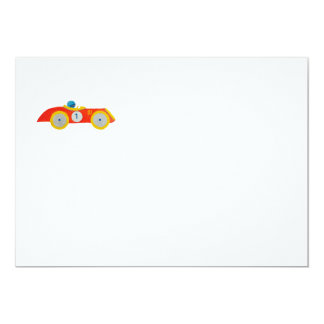 """Little Red Roadster Racing Car Child 1st Birthday 5"""" X 7"""" Invitation Card"""