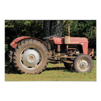 Little Red Tractor With Gray Wheels Poster
