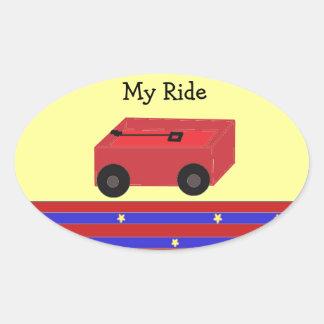 LIttle Red Wagon Oval Sticker