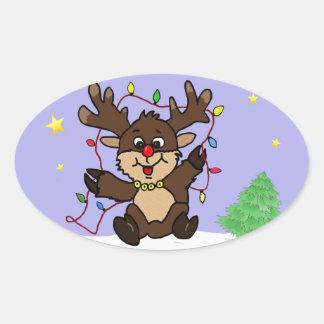 Little Reindeer Oval Sticker