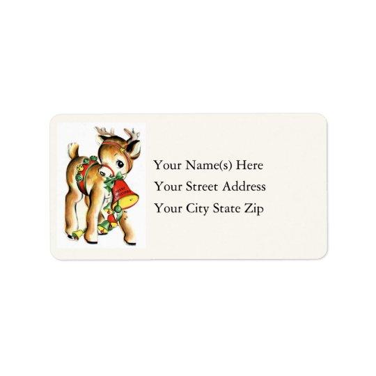 Little Reindeer Vintage Address Label