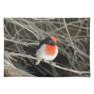 little robin redbreast bird sitting on a twig placemat