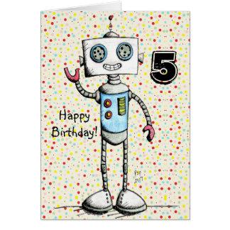 Little Robot Happy Birthday Card