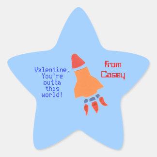 Little rocket personalized valentine sticker