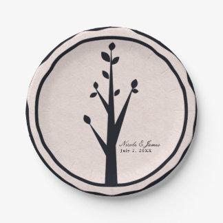 Little Rustic Tree Nature Wedding Custom Reception Paper Plate