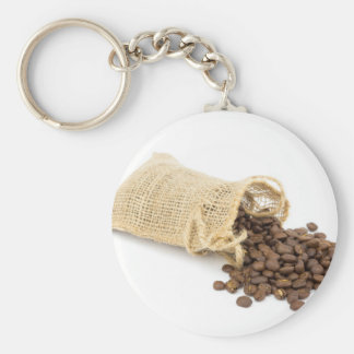 Little sackcloth with coffee beans basic round button keychain