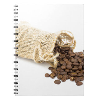 Little sackcloth with coffee beans notebook